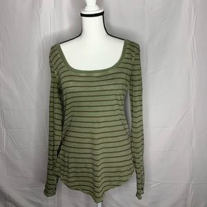Free People • Olive Striped Long Sleeve